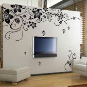 """Стикер за стена от PVC фолио - модел """"Черни цветя с пеперуди"""""""