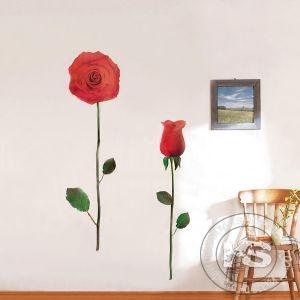 """Стикер за стена от PVC фолио - модел """"Червена роза"""" (вариант #1)"""