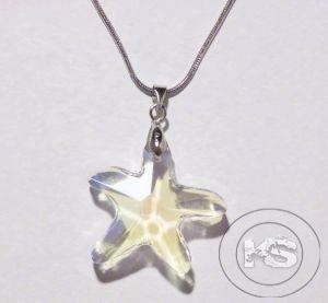 Колие с метална верижка и висулка-звезда (безцветна)