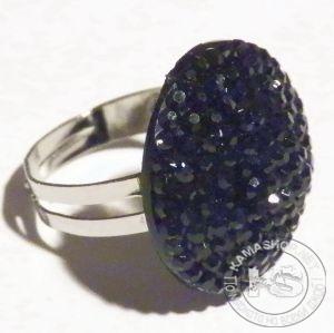 Пръстен дамски - сребрист с малък кръг от ситни кристали