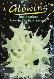 Фосфоресциращи звездички с луна - релефни (светлозелени)