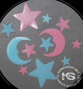 Фосфоресциращи звездички с две луни - плоски (разноцветни)