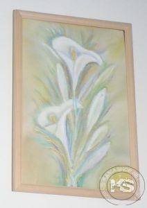 Картина от ръчно рисувана естествена коприна - модел #18 (22 х 32 см)