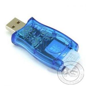 Преход-четец за SIM карти - USB 2.0 (син, прозрачен)