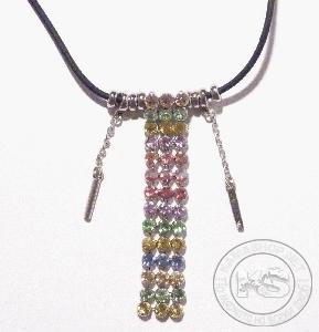 Колие с пендант - килим от кристали (разноцветни)