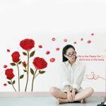"""Стикер за стена от PVC фолио - модел """"Червена роза"""" (вариант #2)"""