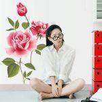 """Стикер за стена от PVC фолио - модел """"Червена роза"""" (вариант #3)"""