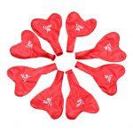 Балони с форма на сърце и дръжка (10 бр в опаковка - червени)