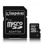 Карта памет Kingston micro SD SDHC TF Class 4 с преходник (16 GB)