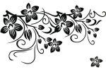 """Стикер за стена от PVC фолио - модел """"Черни цветя"""""""